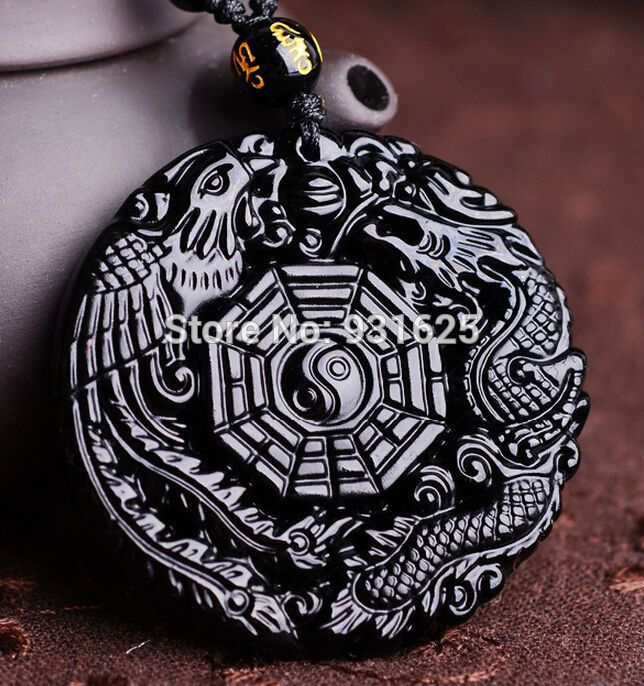 Natural Black Obsidian Hand Carved Chinese Dragon Phoenix BaGua Lucky Amulet Pendant Free Necklace Fashion Fine Jewelry //Price: $26.48 & FREE Shipping //     #hashtag1
