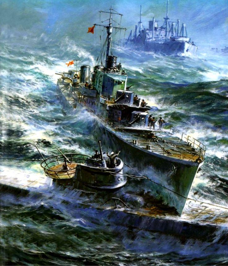 1942 01 15 HMS Hesperus pasa por ojo al U-357 - A. Yu.  Zaikin