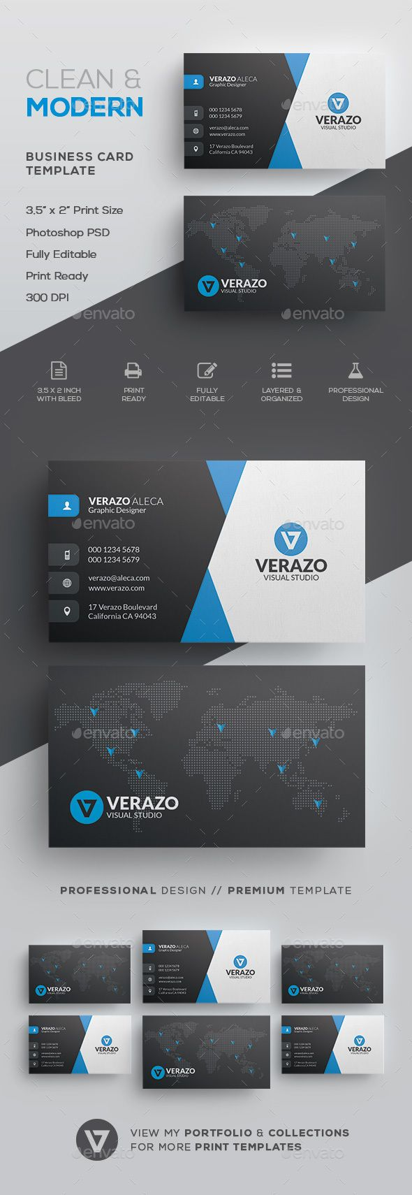 Clean & Modern Corporate Business Card Template by verazo Need more high quality business card? View my Business Card Templates Collection OR Save Money! Buy Business Card Bundle for only