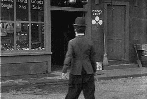 """""""Treppensteiger für eine Stufe""""  Charlie Chaplin in The Pawnshop (1916) """" One of my favorite Chaplin films, I just had the pleasure of seeing this a couple of nights ago on a big screen."""