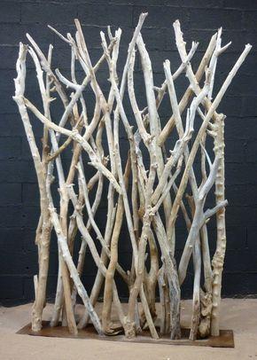 paravent en branches de bois flotte en 5 7cm de diametre