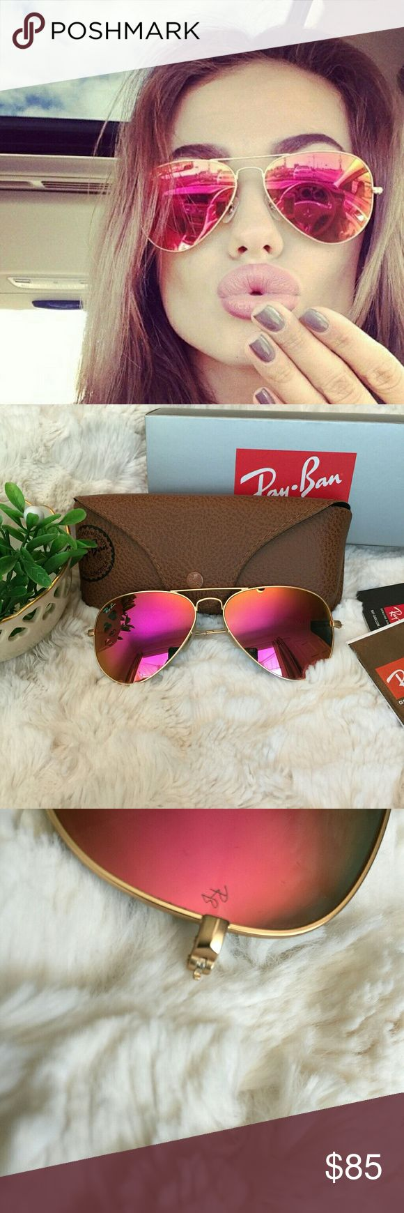 Ray Ban Aviator in Pink Gold RB3025 Authentic ❤️️All my item are 100% Authentic / Real Ray ban ❤️Brand new never used  ❤️️Ray Ban Aviator RB3025❤ lens size 58MM ❤️made in Italy ❤️Frame color Gold ❤️come with case,cloth, booklet and box.  💕Feel free to ask any question💕 Ray-Ban Accessories Glasses