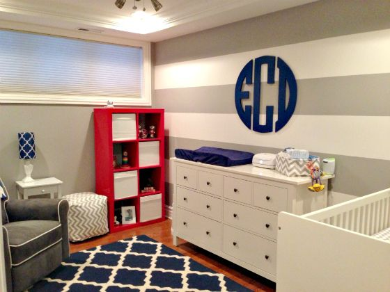 Red, White and Blue Boy's Nursery - the monogram makes this both timeless and preppy! #munire #pinparty #MadeInUSA: Baby Boys Nurseries, Blue Grey Red Boys Rooms, Colors Schemes, Boys Monograms, Boy Nurseries, Baby Rooms, Chevron Wall, Neutral Nurseries, Nurseries Ideas