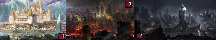 Red Pencil Art - Castle / City