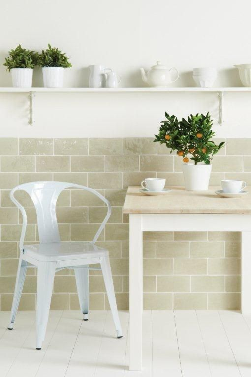 Pumice glossy brick tiles with a beautiful subtle texture. From the Cosmopolitan range at The Winchester Tile Company. Handmade ceramic tiles, made in the UK. winchestertiles.com