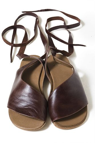 Women shoes, leather, hand-made, large-sizes brown, designer's sandals, flat heel, U.S. size 5 to 12.5, EU size 35 to 43, Roman sandals by U...