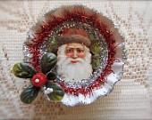vintage tin christmas ornament decoupage