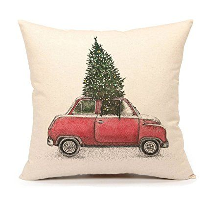 Christmas Tree and Red Car Throw Pillow Cover Home Decorative Cushion Case 18 x 18 Inch Cotton Linen for Sofa(Vintage)