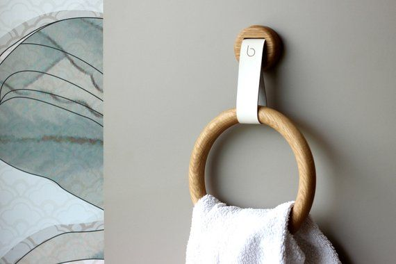 Wood Towel Holder Ring Oak Minimal Towel Bar Wood And Leather Modern Bathroom Towel Hook Towel Holder Bathroom Towel Hooks Wooden Rings
