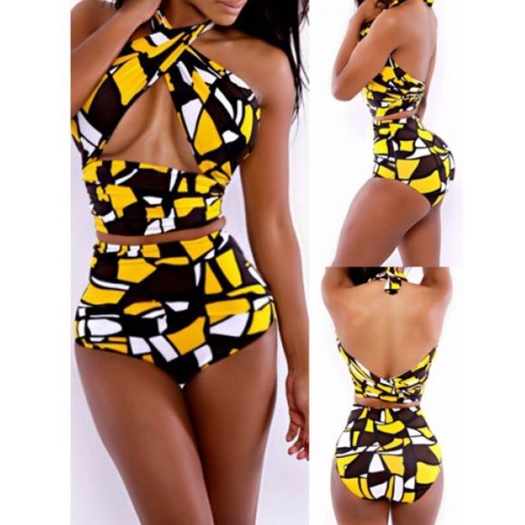 New Brown & Yellow High Waist Bikini Set, XS/S New in retail packaging brown and yellow bikini set. The tags say M but runs very small, best for an XS/S. The bottoms are high waisted and the top is like a long scarf that wraps around you. Swim Bikinis
