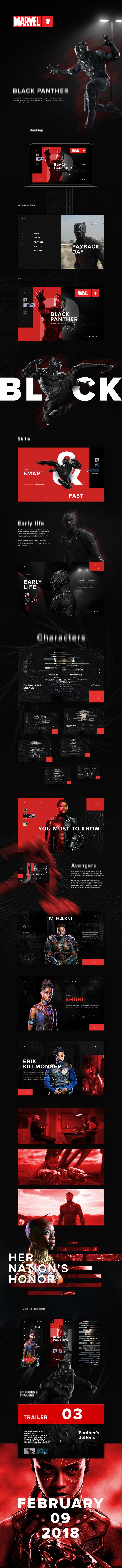 Awesome Web Design for Marvel Black Panther WHEN YOU SCROLL THE BLURRED FONT IS CLEAR WAT