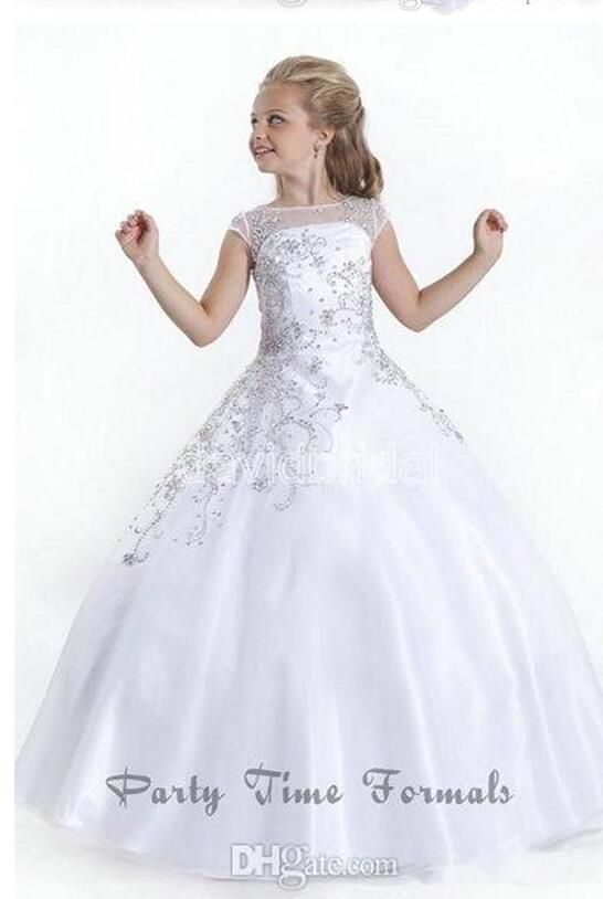 2017 Crystal Short Sleeves White Flower Girl Dresses Gowns Little Girls Pageant Dresses Size Little Kids Skirts Custom Made