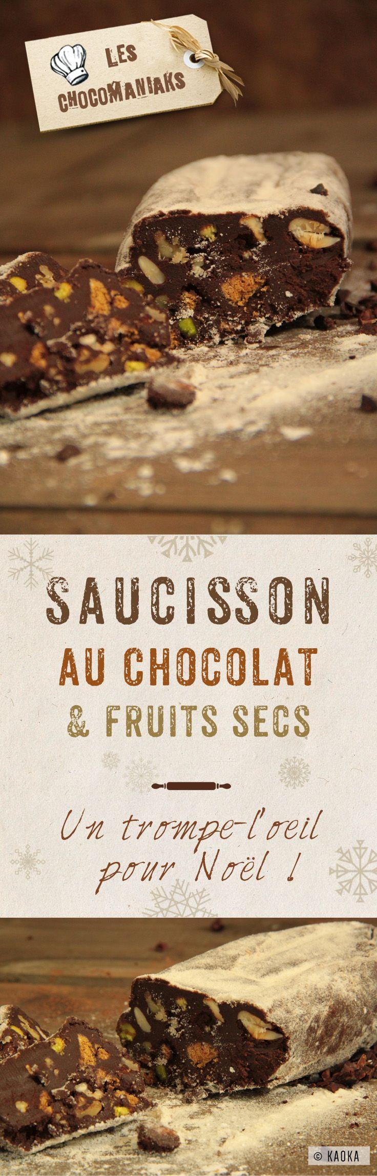 Saucisson au Chocolat & Fruits Secs - un délicieux trompe-l'oeil pour Noël // Recette proposée par le Blog LesChocomaniaks www.chocomaniaks.fr // Chocolat Bio Équitable ©KAOKA