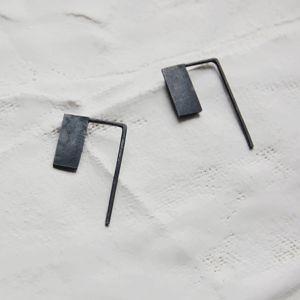 AgJc: Oxidized silver geometrics pendants earrings #14 / Les géométriques collection