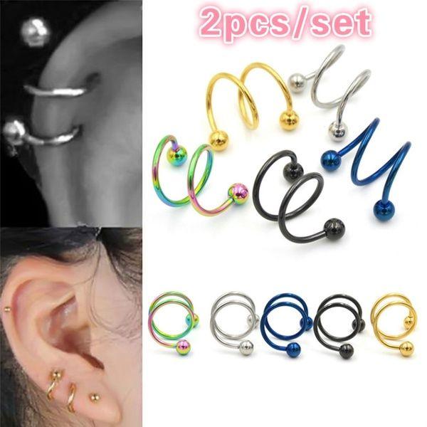 1 Pair Round Tragus Lip Ring Monroe Ear Cartilage Stud Earring Body Piercing FO