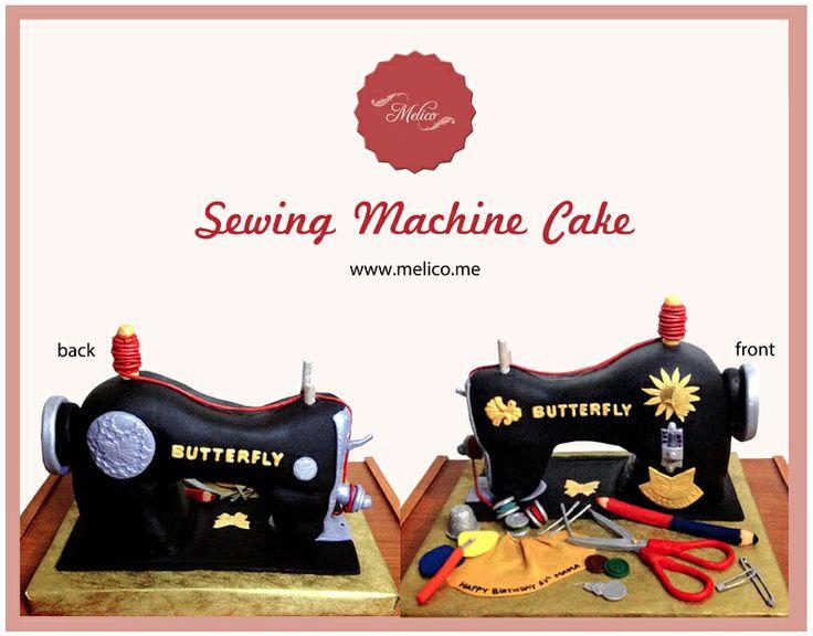 3D Cake - Sewing Machine Cake. #3dcake #cake #ediblecake #sculptedcake #noveltycake #sugarart -- Like and Follow us #melicobali (Instagram) || www.melico.me