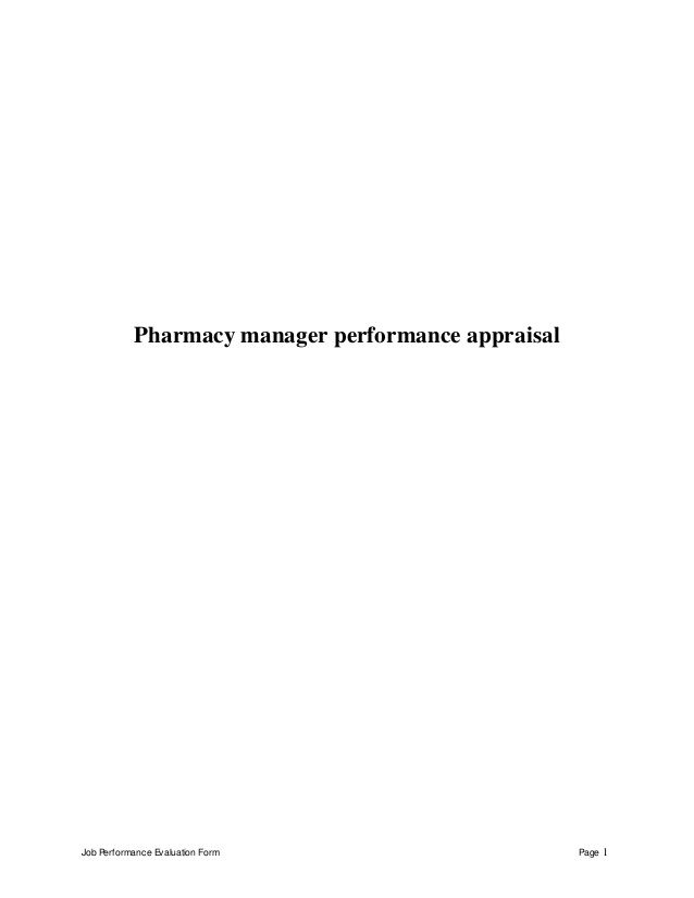 Job Performance Evaluation Form Page  Pharmacy Manager