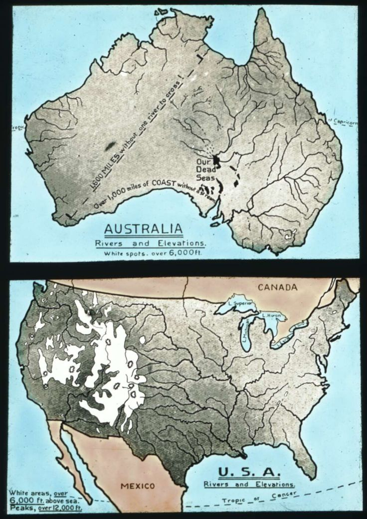 rivers and elevations comparison usa vs australia