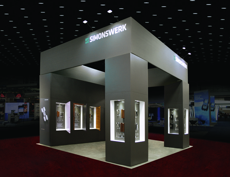 Simple Exhibition Stand Goals : Simonswerk simple yet elegant design with products