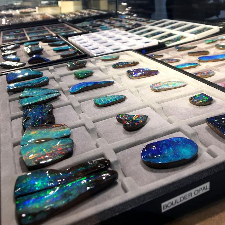 Opal gemstones at the Baselworld gem hall. These are all boulders with amazing blue green black hues. Our most popular jewellery and watch posts on Instagram for March 2017: http://www.thejewelleryeditor.com/jewellery/top-5/most-popular-instagram-posts-march/ #jewelry