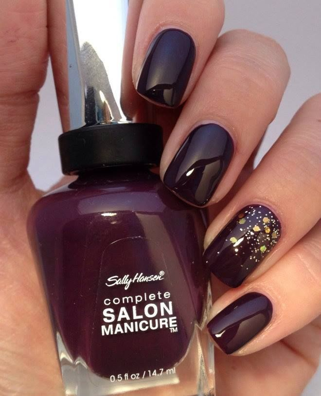 Deep Wine Nail Polish: Deep Plum Nail ~ Gold Glitter Accent ~ L VᏋ♥