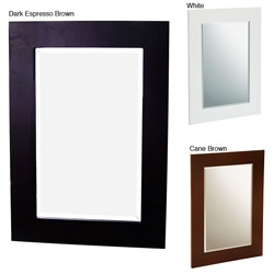 @Overstock - This minimalist wall mirror adds a simple but striking accent to your bathroom. The thick border draws focus to this otherwise purely functional decor piece that fits well in the practical home. It is available in cane brown, dark espresso, and white.http://www.overstock.com/Home-Garden/Boulavard-Wall-Mirror/3083164/product.html?CID=214117 $42.70