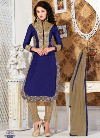 Peppy Royal Blue Georgette With Patch Border Work Churidar Suit