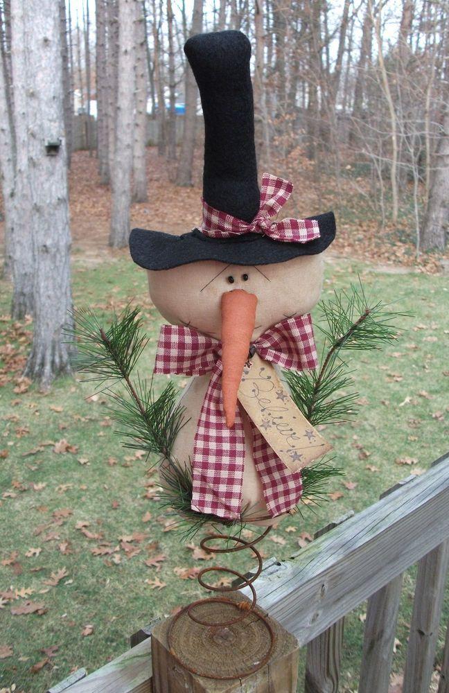 PrimiTive ChrisTmas SNOWMAN Doll BELIEVE Star Tag Tree ...