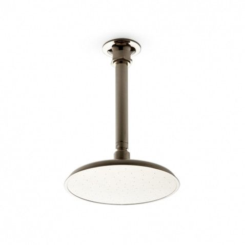 Waterworks Henry Ceiling Mounted Shower Head, Arm and Flange in Nickel