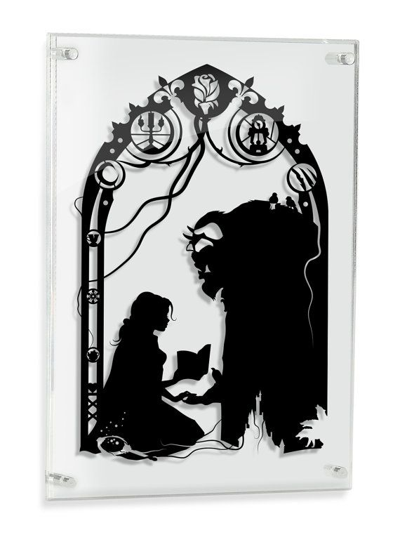 Beauty and the Beast hand cut paper shadow cut Belle and Beast // disney inspired love artwork silhouette framed wall decor unique love gift