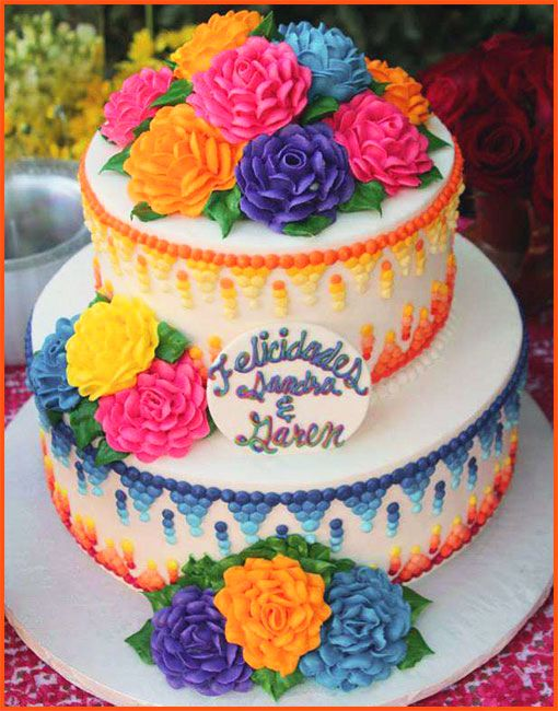 Mexican Fiesta Cake with Roses by Delicious Bakery