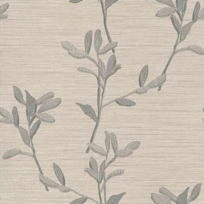 Albany Italian Garden (2006) - Albany Wallpapers - A pretty leaf spray design, with an embroidered effect. Set on a strongly textured horizontally striped vinyl background. Shown in the silver grey – available in other colours. Please request sample for true colour match.