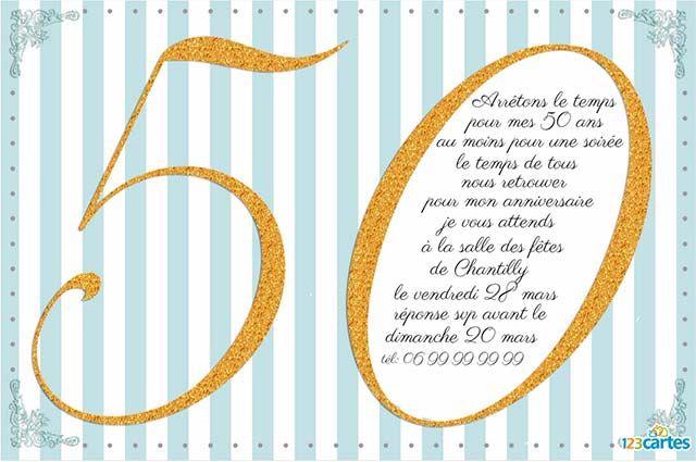 Invitation anniversaire 50 ans Effet pailleté or