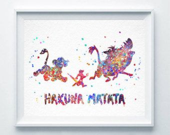 Hakuna Matata Aquarell Drucken der König der Löwen Simba Timon Pumba Drucken Disney Poster Kinderzimmer Kunst Malerei Dekor Kinder Freunde Geschenk A142