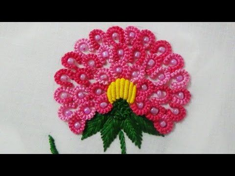 Hand Embroidery Designs | Bead embroidery | Stitch and Flower-124 - YouTube