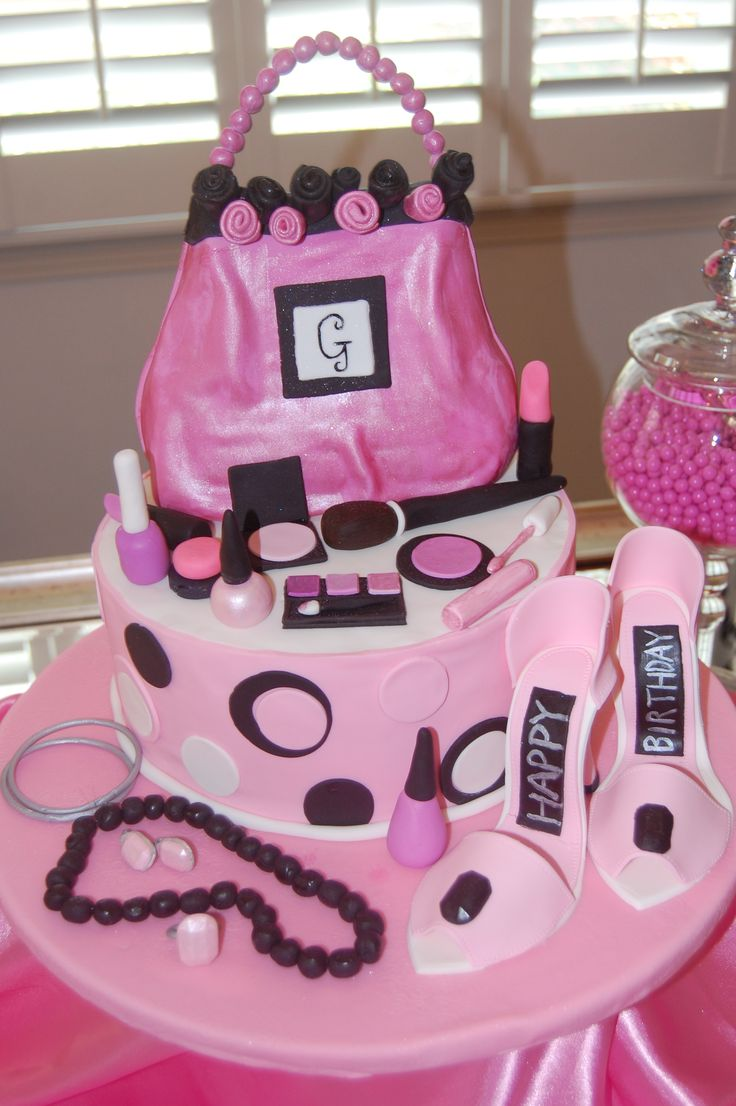 decorating ideas for garage birthday party - Pink Prom themed cake Cake purse fondant make up