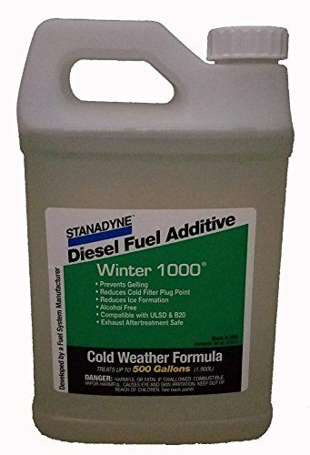 Stanadyne Winter 1000   1/2 Gallon Jug   Treats 500 Gallons of diesel fuel   Part # 45697 - STANADYNE WINTER 1000 FORMULA Economic cold weather protection for Diesel Fuel 1/2 Gallon (64oz) jug treats 500 gallons of Diesel Fuel ADVANTAGES OF STANADYNE WINTER 1000 FORMULA: 1) Fuel Gelling Protection - pour point reduced by as much as 40°F (22°C), depending on base fuel. 2) Reduces ice for...
