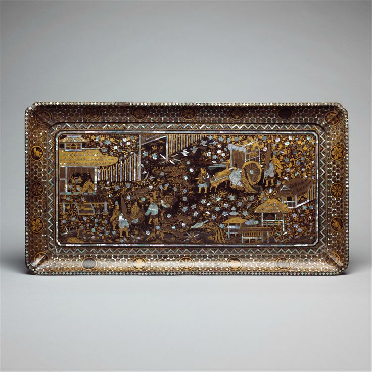 Tray with Scene from the Tale of Genji, early 17th century. Edo period (1615–1868). Japan. Black lacquer with gold maki-e and mother-of-pearl inlay; H. 1 5/8 in. (4.1 cm); W. 30 1/8 in. (76.5 cm); D. 16 1/8 in. (41 cm). The Metropolitan Museum of Art, New York,  Purchase, Mary Livingston Griggs and Mary Griggs Burke Foundation Gift, 2002 (2002.2).  Photo: Courtesy of The Metropolitan Museum of Art.