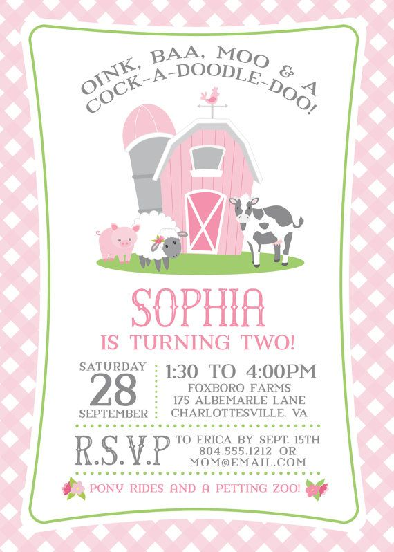 Best 25 Farm party invitations ideas – Girls Birthday Party Invites