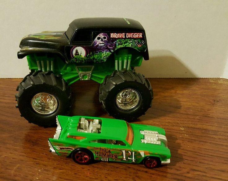 2001 Mattel Hot Wheels Grave Digger Monster Jam Truck &  The Jack Hammer Car #MattelHotWheels