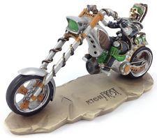 """5"""" Skeleton Biker Statue Figurine Death Rider Gear Head Steampunk Motorcycle"""