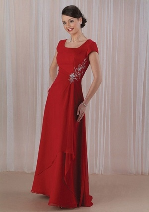 A-line Square-neck Floor-length Organza Mother of the Bride Dress?