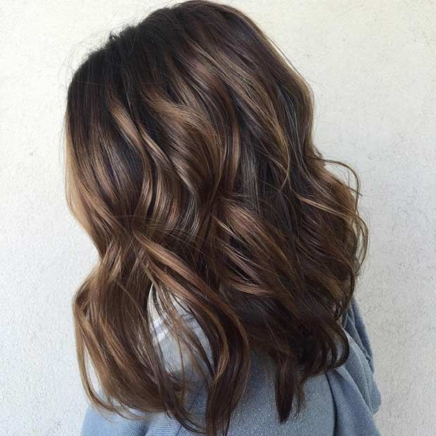 Chocolate Brown Lob (Long Bob) Hairstyle