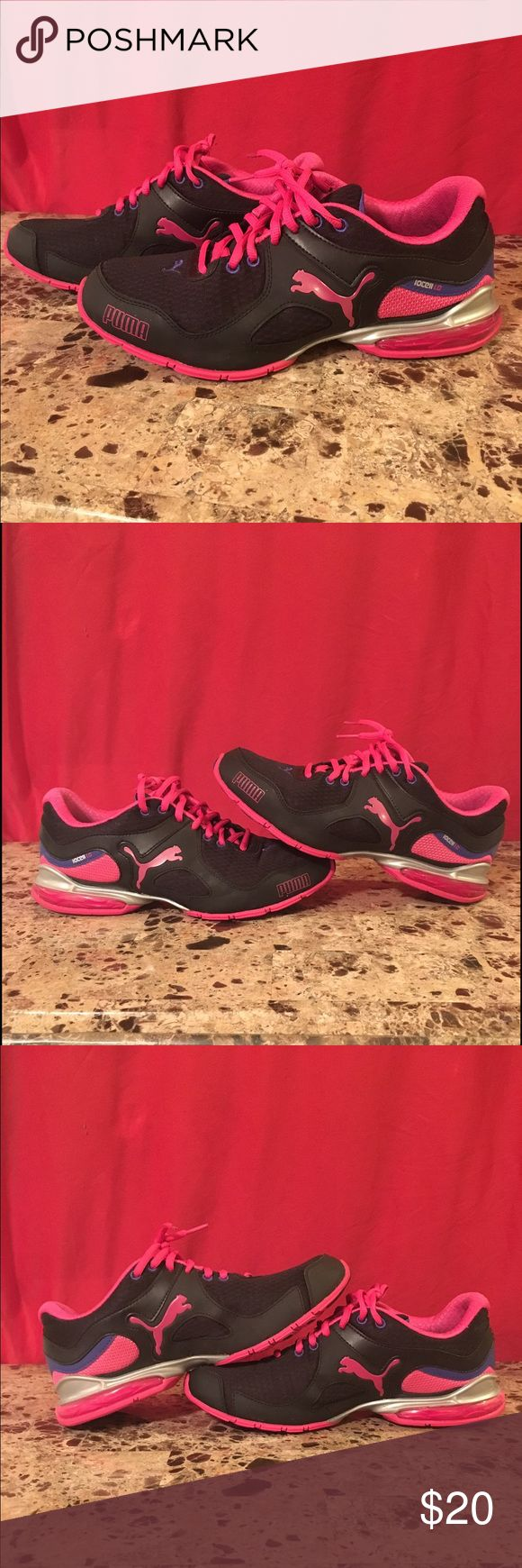 Puma athletic shoes Black and pink puma IOCELL 1.0 sneakers. In GUC. Puma Shoes Athletic Shoes