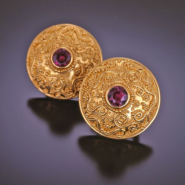 Zaffiro Jewelry Classic Collection Tuscan Garden Series Earrings are set with Grape Garnets in granulated 22kt yellow gold with 18kt yellow gold post and omega clips.
