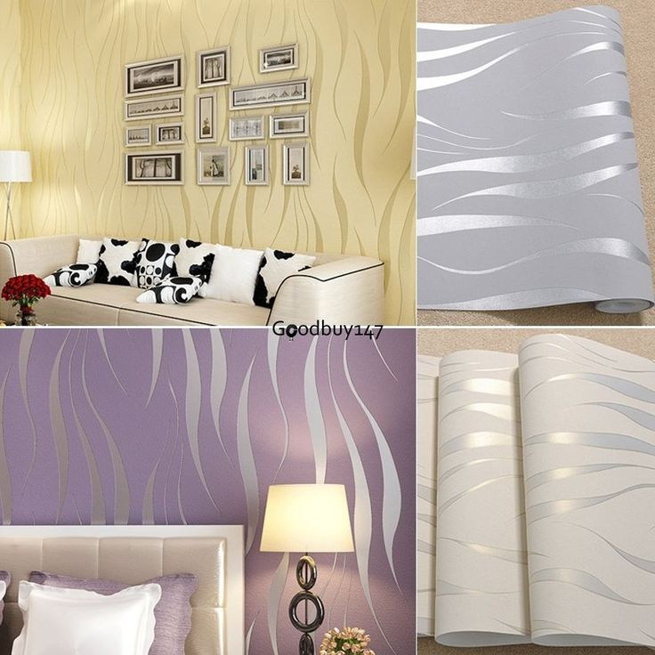 10M Non-woven 3D Wave Flocking Wallpaper Rolls & 2016 Bedroom Improvement #UnbrandedGeneric