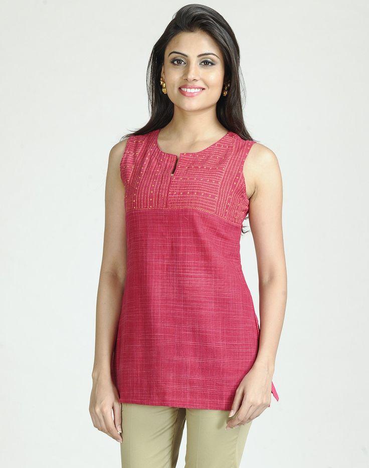 Cotton Khadi Bijli Tanka Embroidery Short Kurta