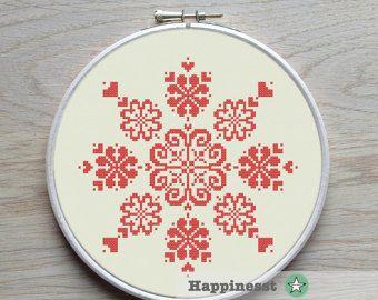 modern cross stitch pattern flower ornament par Happinesst sur Etsy
