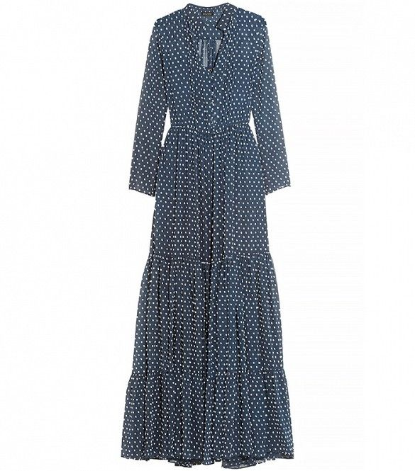 Saloni Alexia Swiss-Dot Chiffon Maxi Dress
