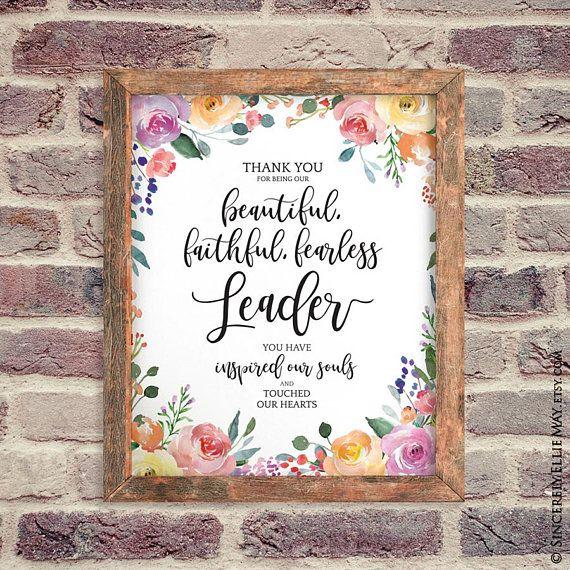 Leadership Quotes Printable Gifts Beautiful Faithful Etsy Wall